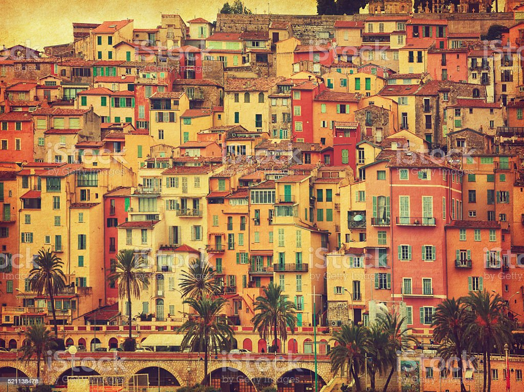 Colorful houses in old part of Menton, stock photo