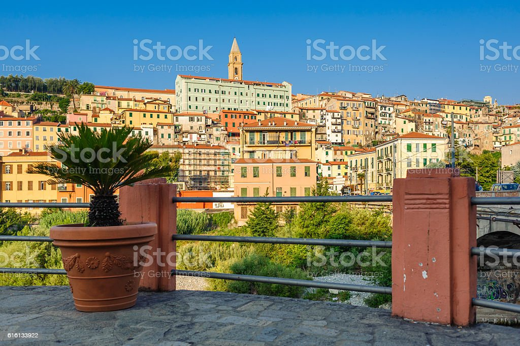 Colorful houses in old town of Ventimiglia, Italy. stock photo