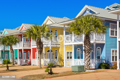 Photo of colorful homes along the beach in Panama City Beach, Florida, USA on a clear blue sky day.