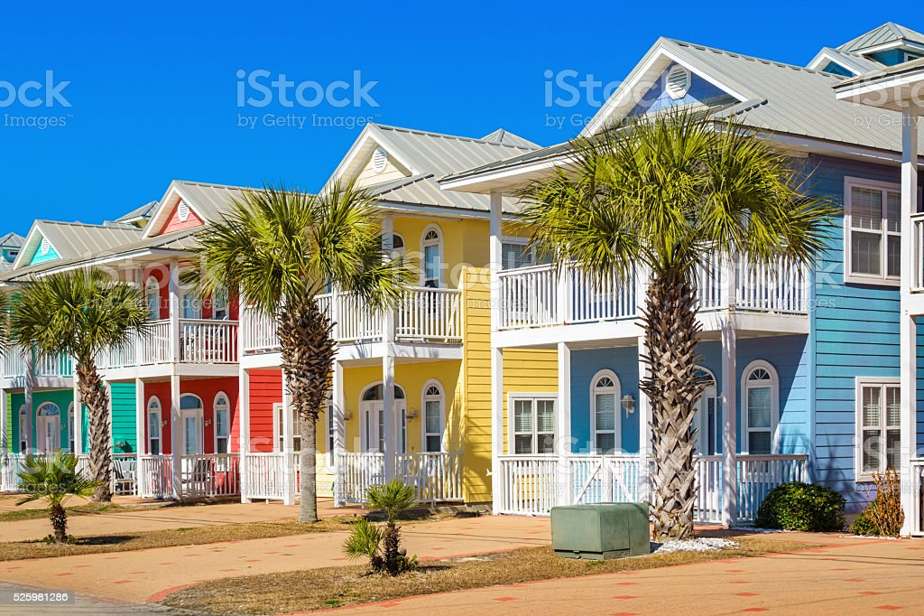 Colorful Houses in Panama City Beach Florida USA stock photo