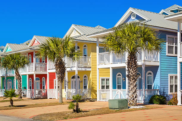 colorful houses in panama city beach florida usa - vacation homes stock pictures, royalty-free photos & images
