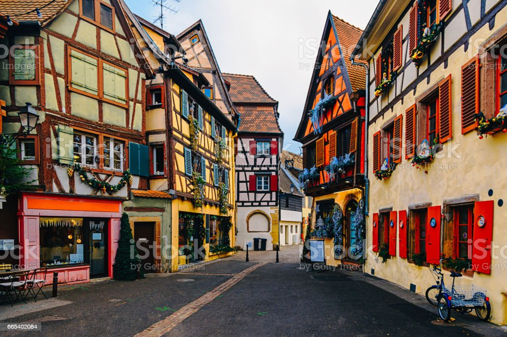 Colorful Houses in Petit Venice, Colmar, France stock photo