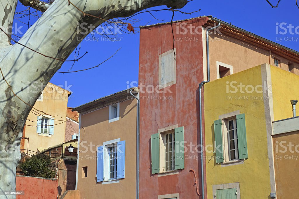Colorful houses in Roussillon royalty-free stock photo