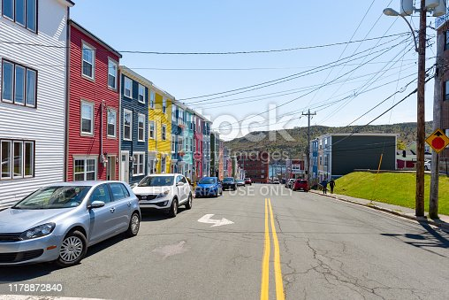 Colorful houses in St. John's of Newfoundland and Labrador, Canada.