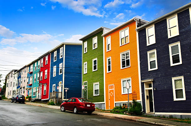 Colorful houses in St. John's stock photo