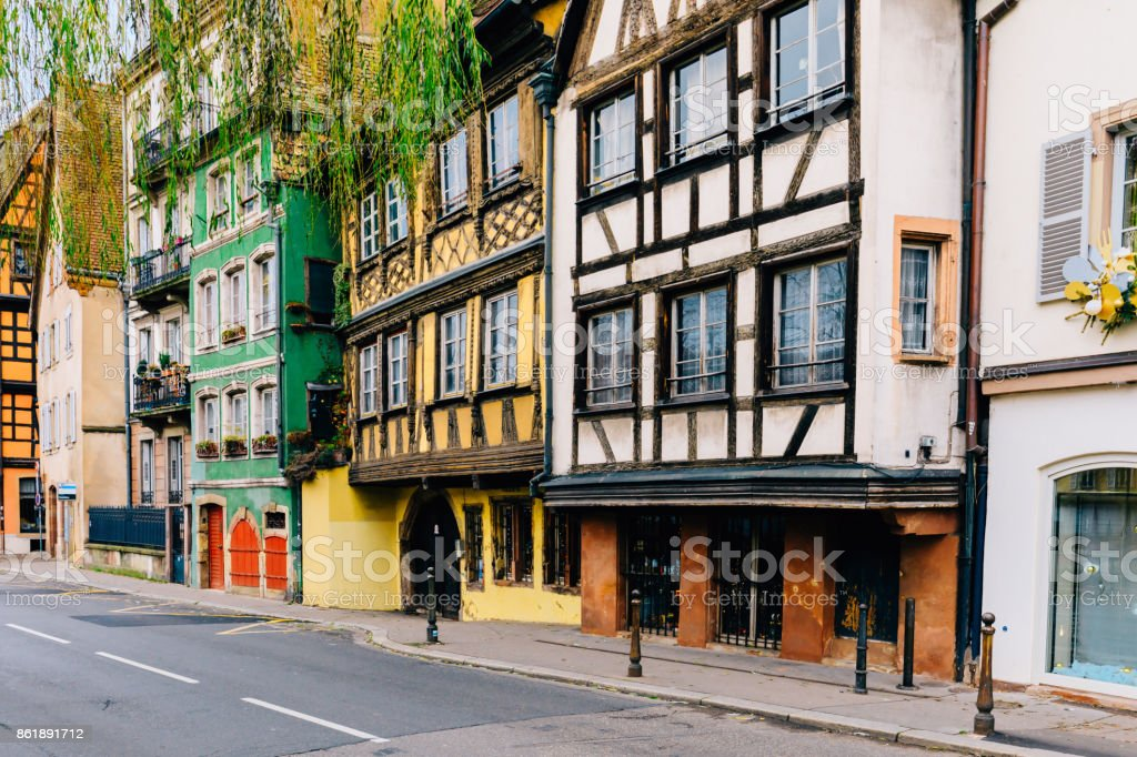 Colorful Houses in Strasbourg, Alsace, France stock photo