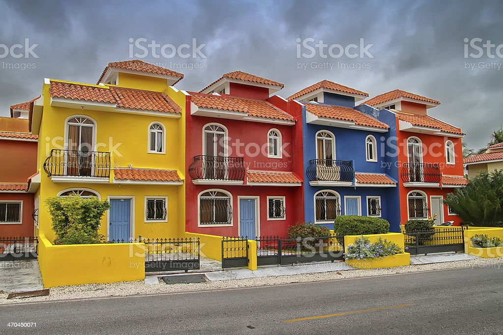 Colorful houses in the Dominican Republic stock photo