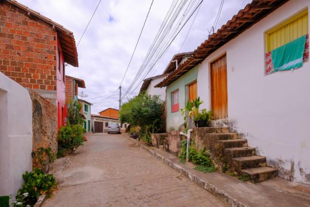 Colorful houses in the historical city of Lencois, Chapada Diamantina, Bahia, Brazil stock photo