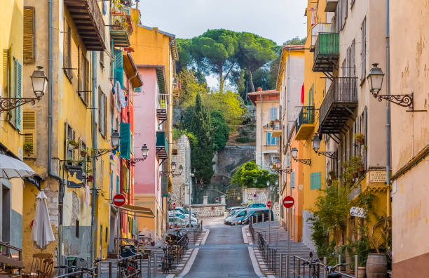 Colorful houses in the street of the Old Town, Vieille Ville in Nice, French Riviera stock photo
