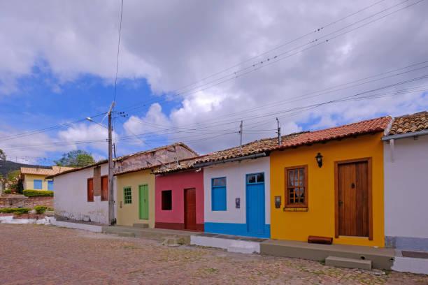 Colorful houses in the streets of Mucuge, Chapada Diamantina, Bahia, Brazil stock photo