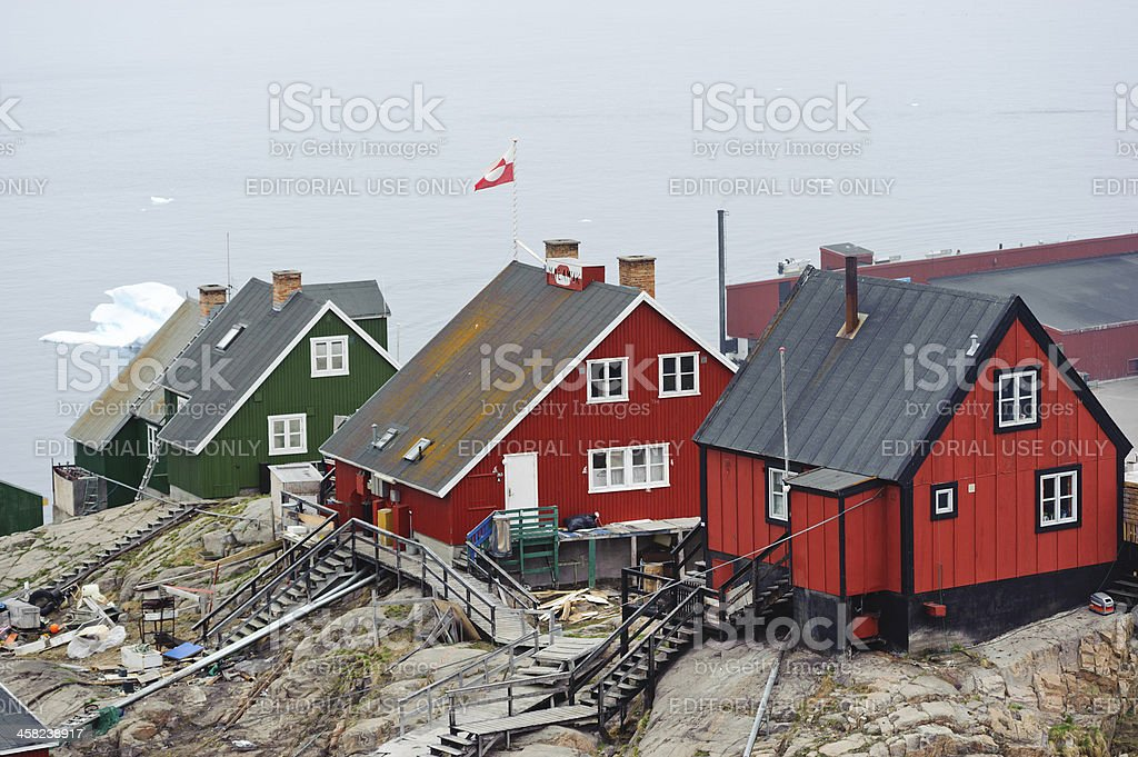 Colorful houses in Uummannaq, Greenland stock photo