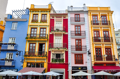Colorful houses in Valencia, Spain