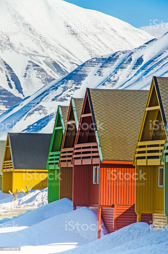 Colorful houses, Longyearbyen, Spitsbergen, Svalbard, Norway stock photo
