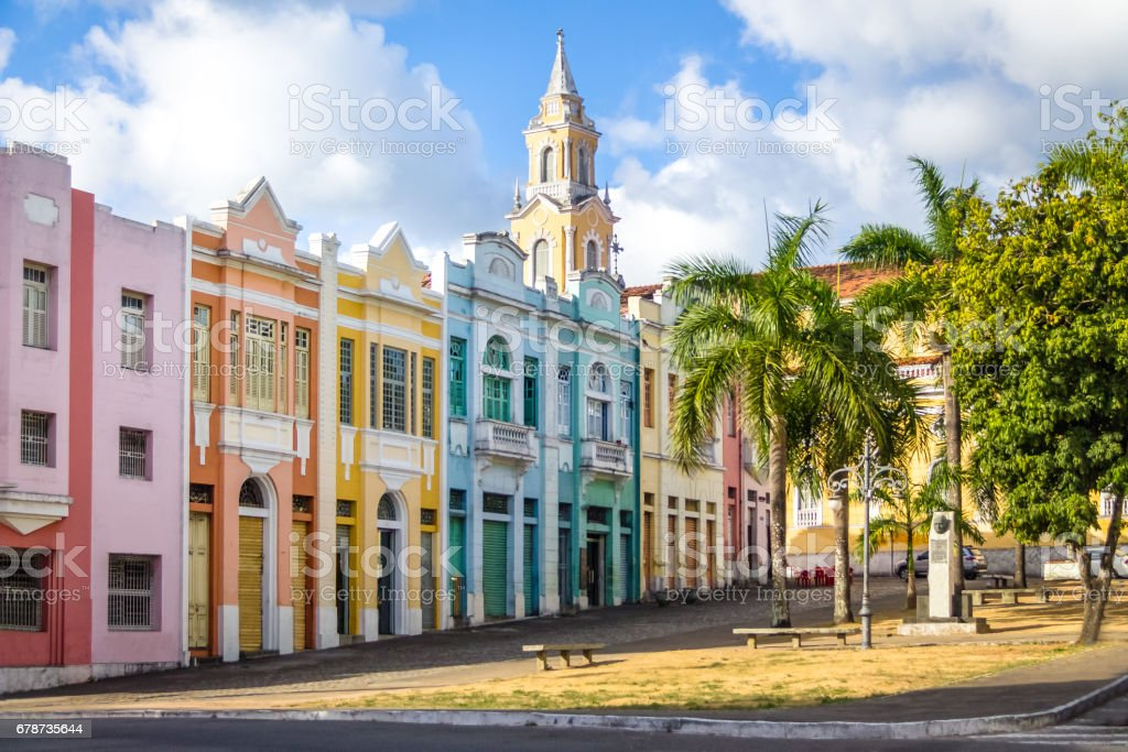 Colorful houses of Antenor Navarro Square at historic Center of Joao Pessoa - Joao Pessoa, Paraiba, Brazil stock photo