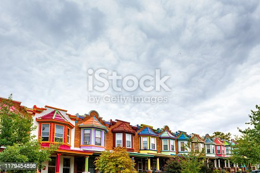 Colorful Houses of Charles Village in Baltimore