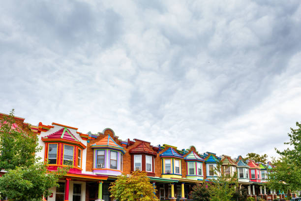 Colorful Houses of Baltimore Colorful Houses of Charles Village in Baltimore baltimore maryland stock pictures, royalty-free photos & images