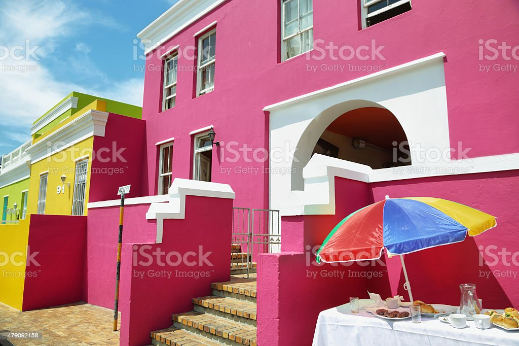 Colorful houses of Bo Kaap stock photo