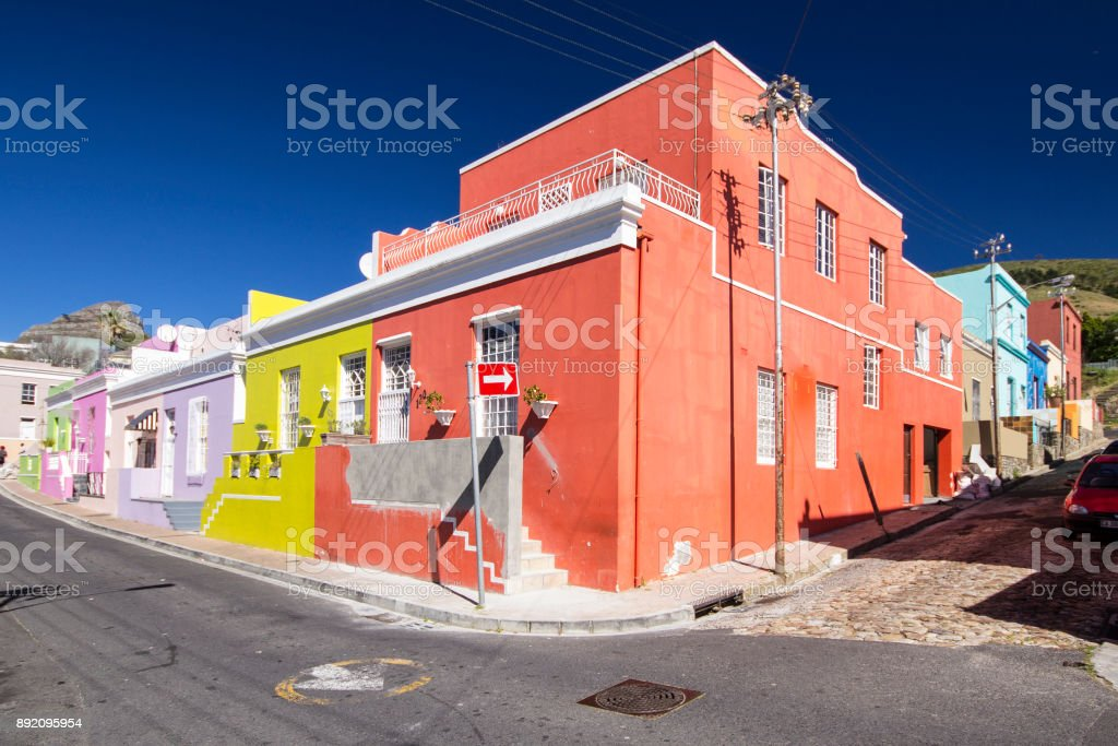 colorful houses of Bo-kaap, Cape Town stock photo