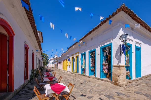 Colorful houses of historical center in the colonial city of Paraty, Rio de Janeiro, Brazil stock photo