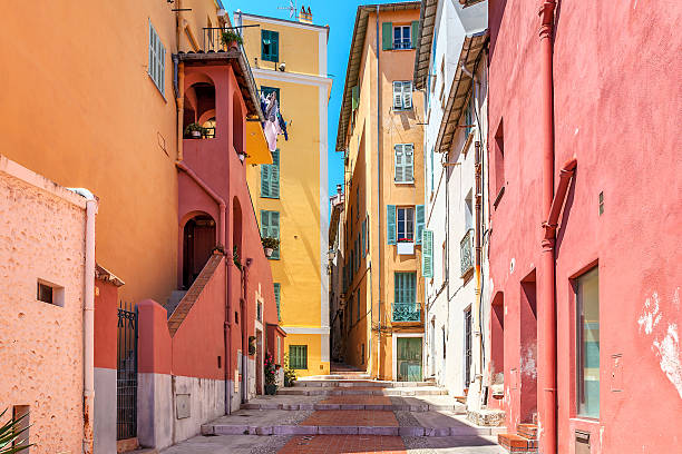 Colorful houses of Menton, France. stock photo