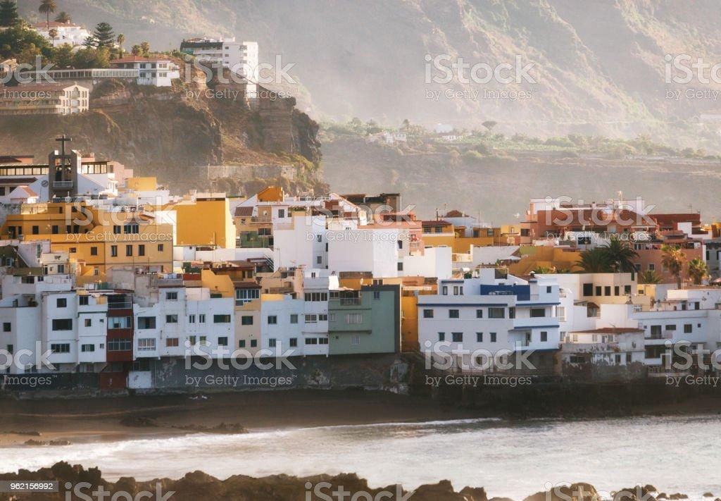 Colorful houses of Puerto de la cruz, Tenerife stock photo