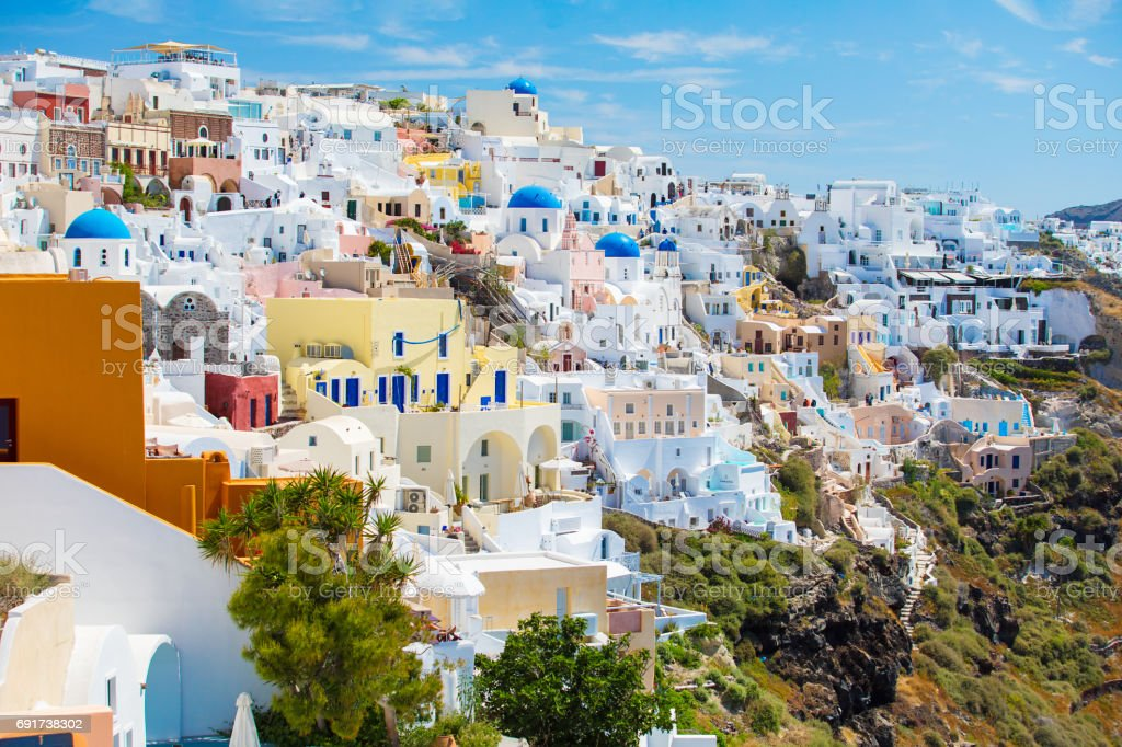Colorful houses of Santorini, Greece stock photo