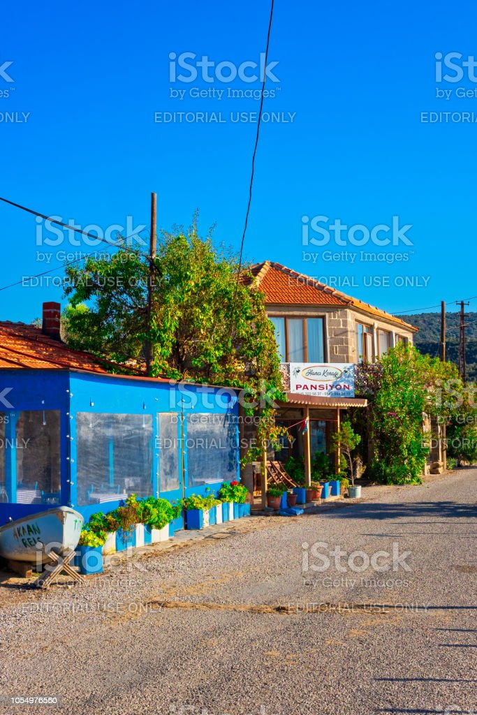 Colorful houses of seaside fishing village located on the Aegean side of Turkey stock photo