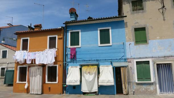 Colorful houses of Torcello, Venice, Italy stock photo