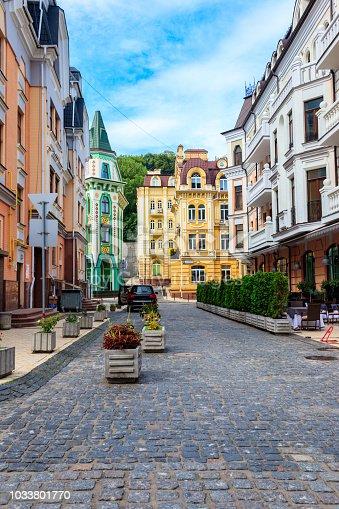 istock Colorful houses of Vozdvizhenka elite district in Kiev, Ukraine 1033801770
