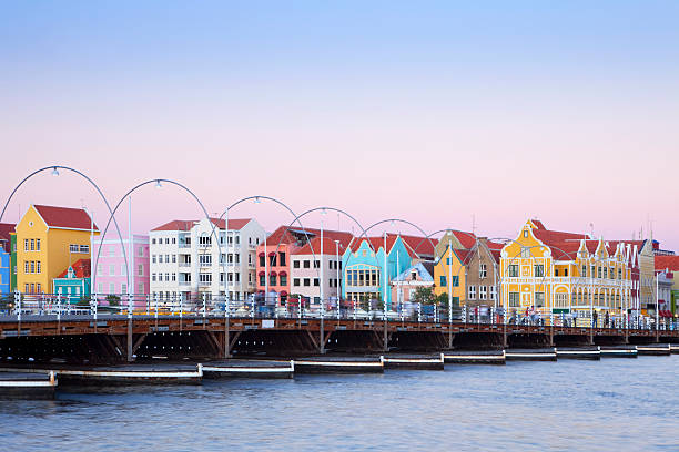 Colorful houses of Willemstad, Curacao with bridge stock photo