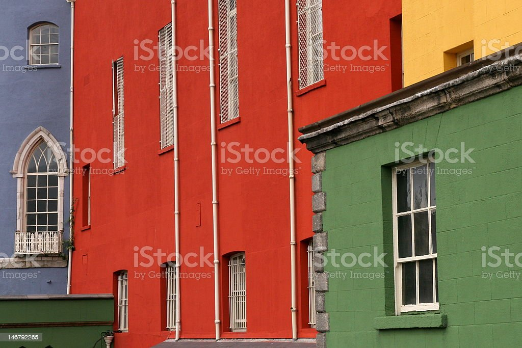 Colorful houses on a row in Dublin street royalty-free stock photo