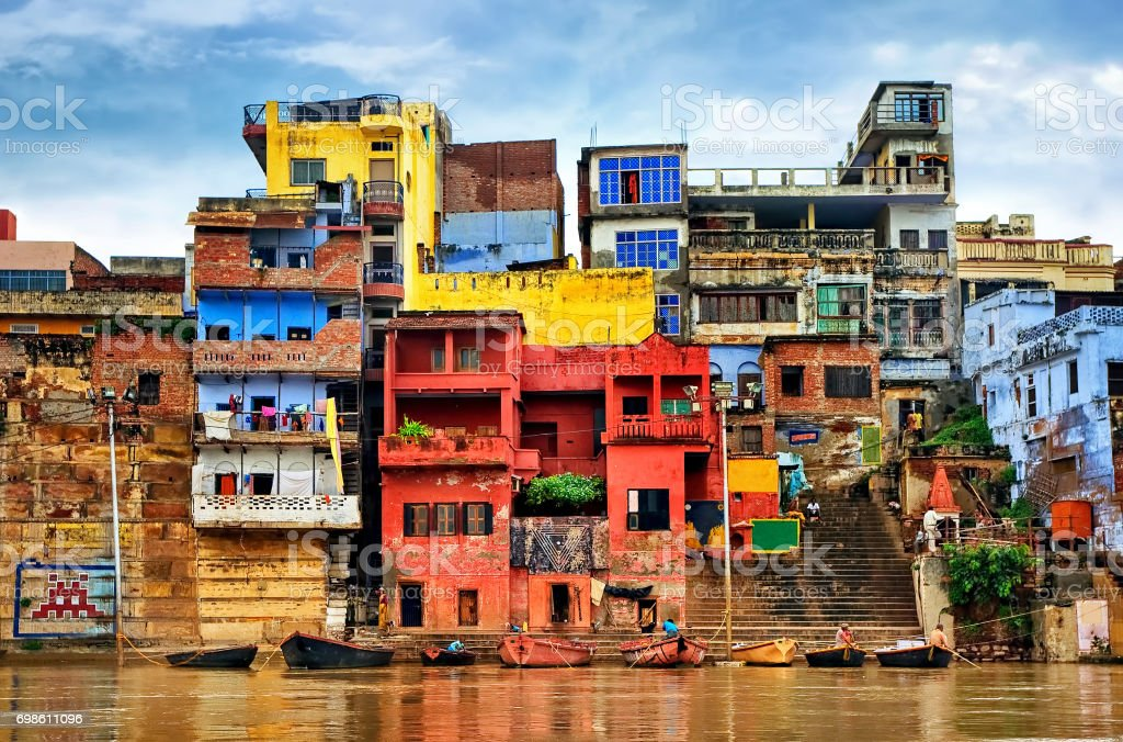 Colorful houses on river Ganges, Varanasi, India stock photo