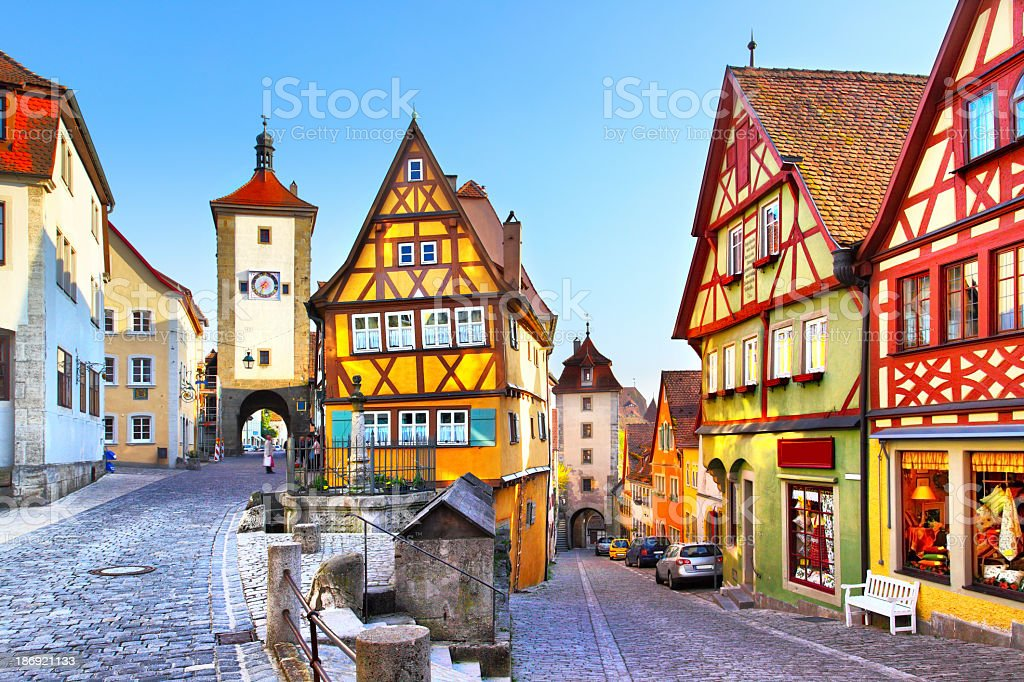 Colorful houses on Rothenburg ob der Tauber stock photo