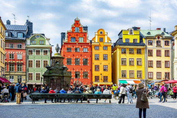 Colorful houses on Stortorget square in Old town, Stockholm, Sweden Colorful houses on Stortorget square in Old town, Stockholm, Sweden sweden stock pictures, royalty-free photos & images