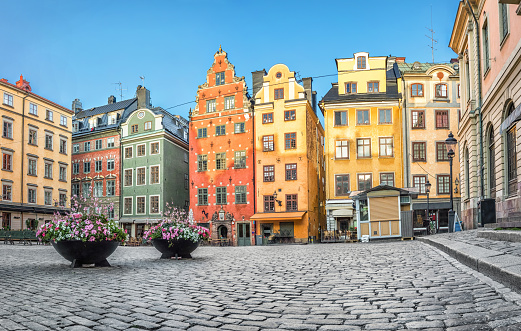 Colorful houses on Stortorget square in Stockholm