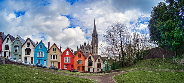 Colorful Houses on Street in Cobh, Ireland stock photo