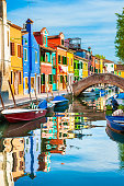 Colorful houses on the canal in Burano island, Venice, Italy. Famous travel destination