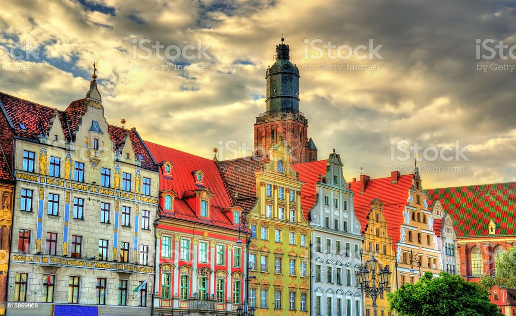 Colorful Houses on the Market square in Wroclaw, Poland – Foto