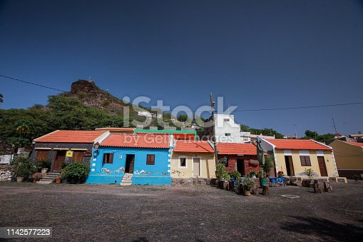 Row of typical colorful houses in Velha, a suburb of Praia on Cabo Verde islands.