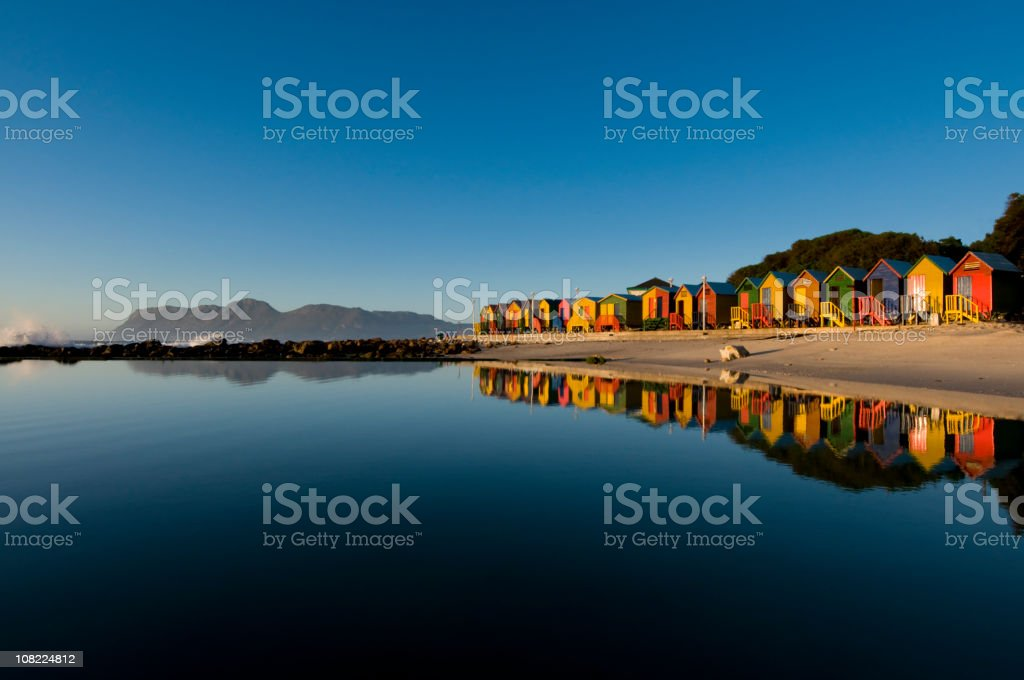 Colorful houses seaside landscape stock photo