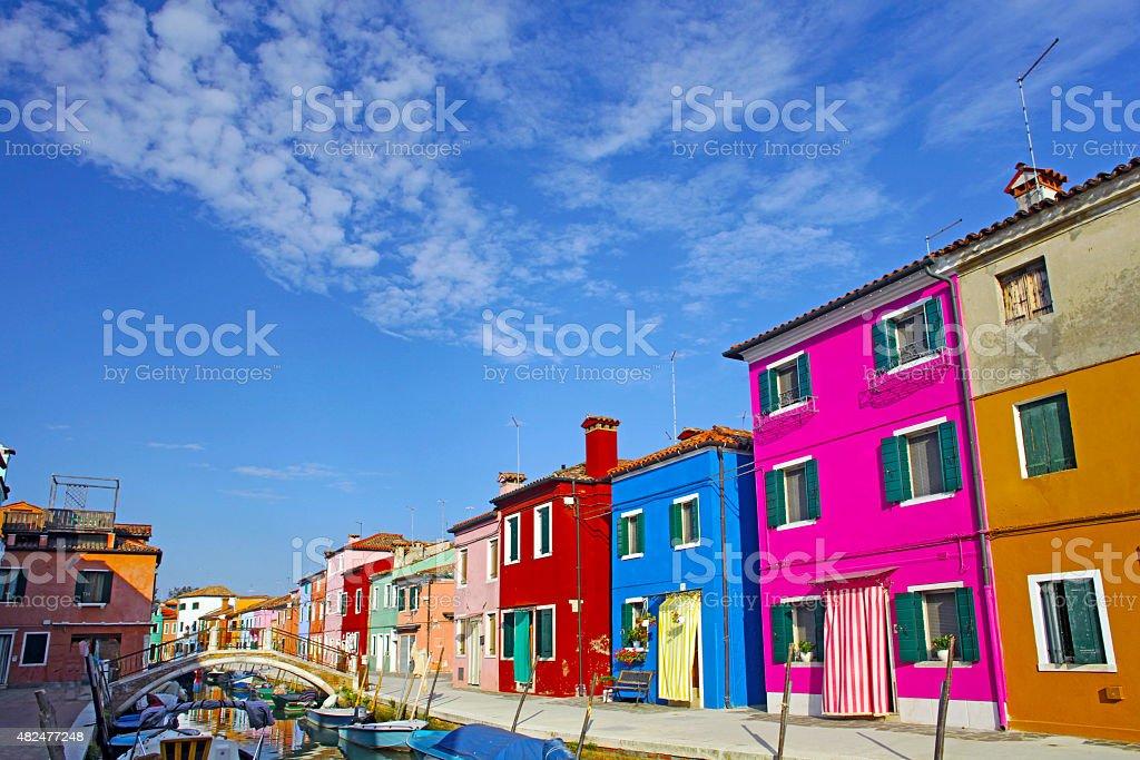 Colorful houses taken on Burano island , Venice, Italy stock photo