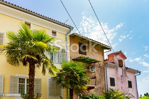 street in historical town Lovran, Croatia
