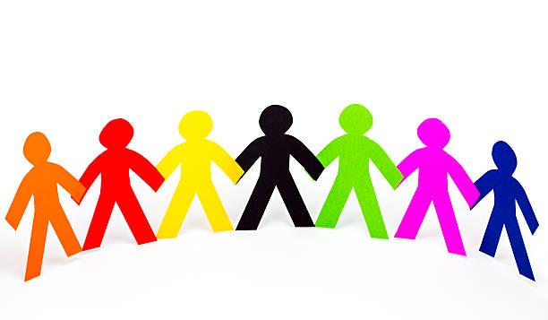 colorful human chain paper cut - stick figure stock photos and pictures