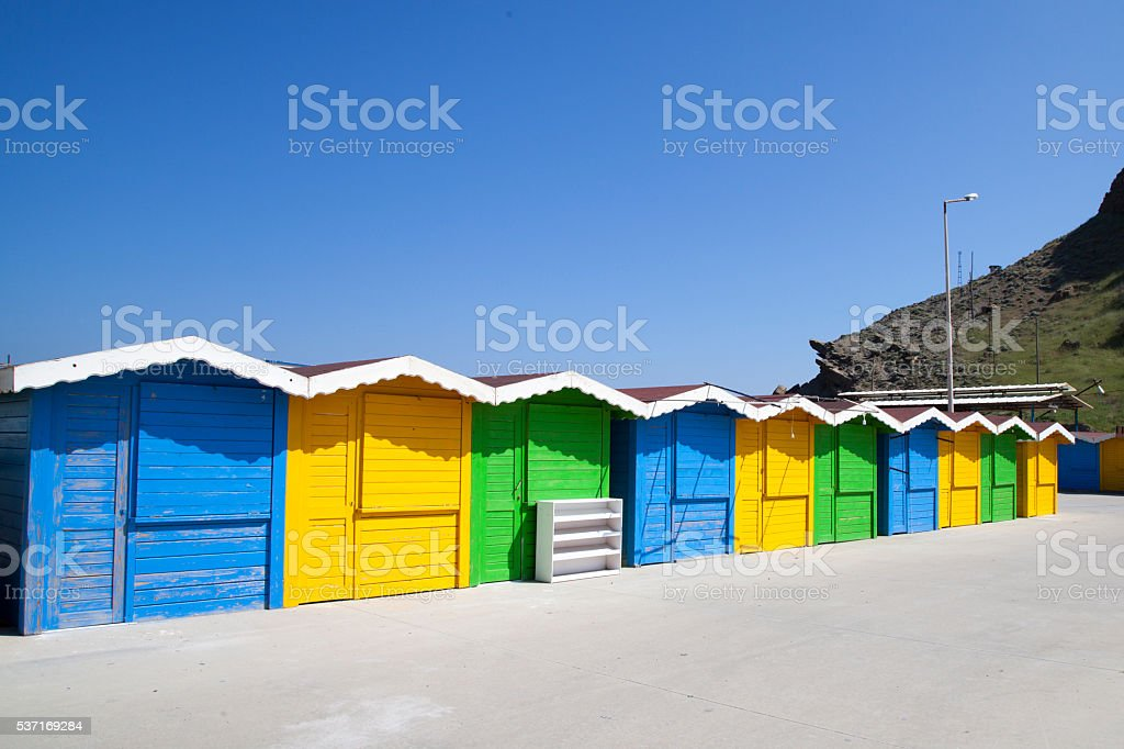 colorful huts in Gokceada stock photo