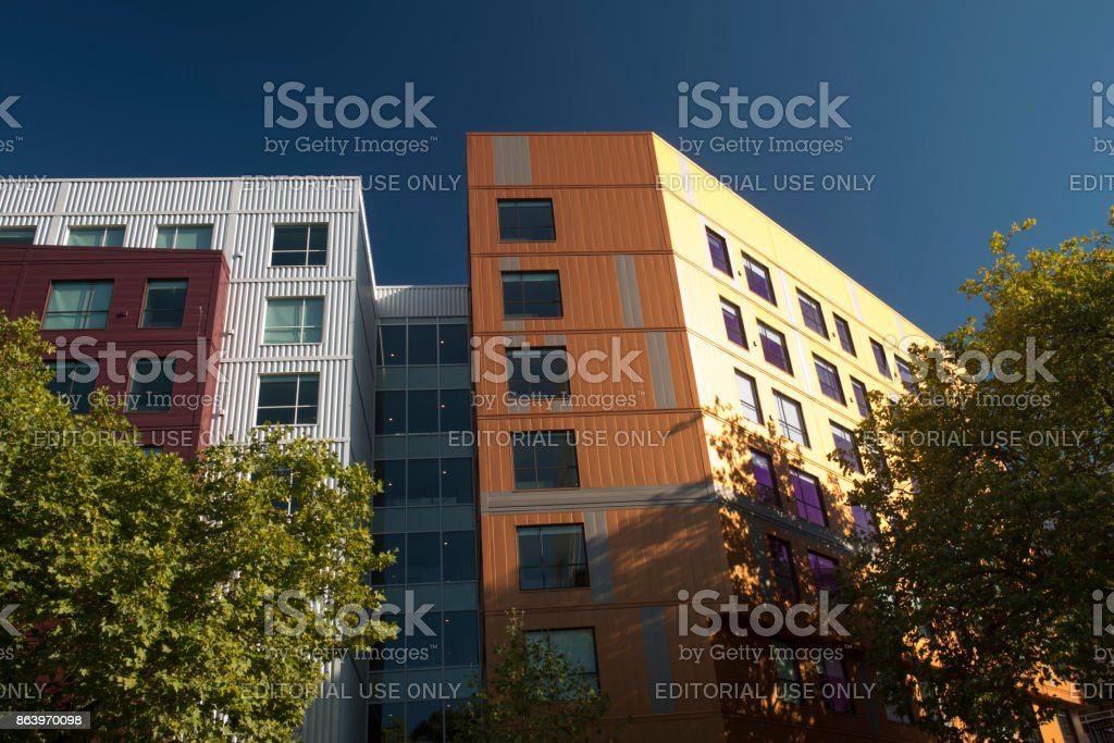 Colorful Hyatt House building near Seattle Center stock photo