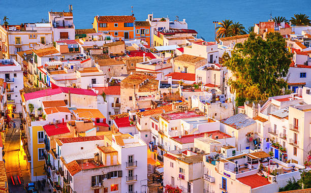 Colorful Ibiza Down Town stock photo
