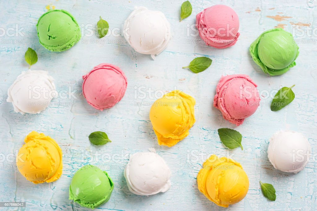 Colorful ice cream balls. stock photo