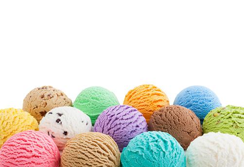 Colorful ice cream bottom border isolated on white