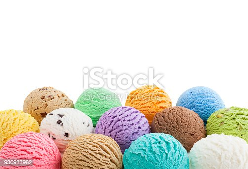 Colorful ice cream bottom border isolated on white