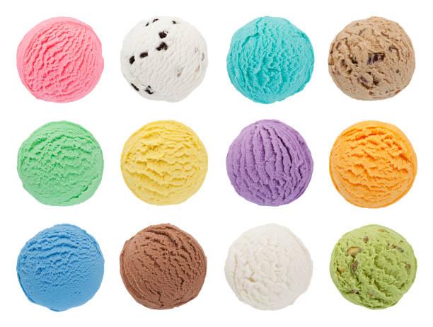 colorful ice cream scoops collection - cucchiaio dosatore foto e immagini stock